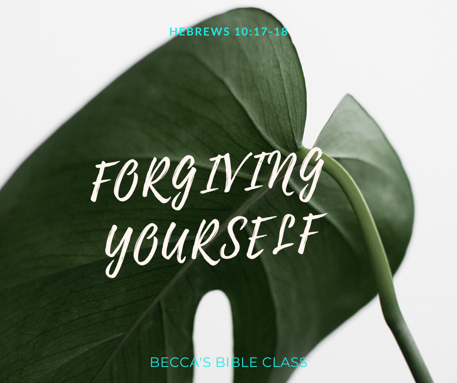 HOW TO FORGIVE YOURSELF God can forgive you for anything that you do-- so you should too! In this Bible Study, we use Hebrews 10:17-18 to figure out how to forgive ourselves. Becca's Bible Class.