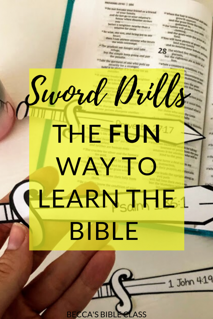 Using Sword Drills to Learn the Bible: If you are sick of students not being able to find ANYTHING in the Bible, then Sword Drills are the game to use. Whether you are teaching kids in Bible class, Sunday School, Children's Church, or homeschool, this game is a lot of fun, and can be adapted. Becca's Bible Class.