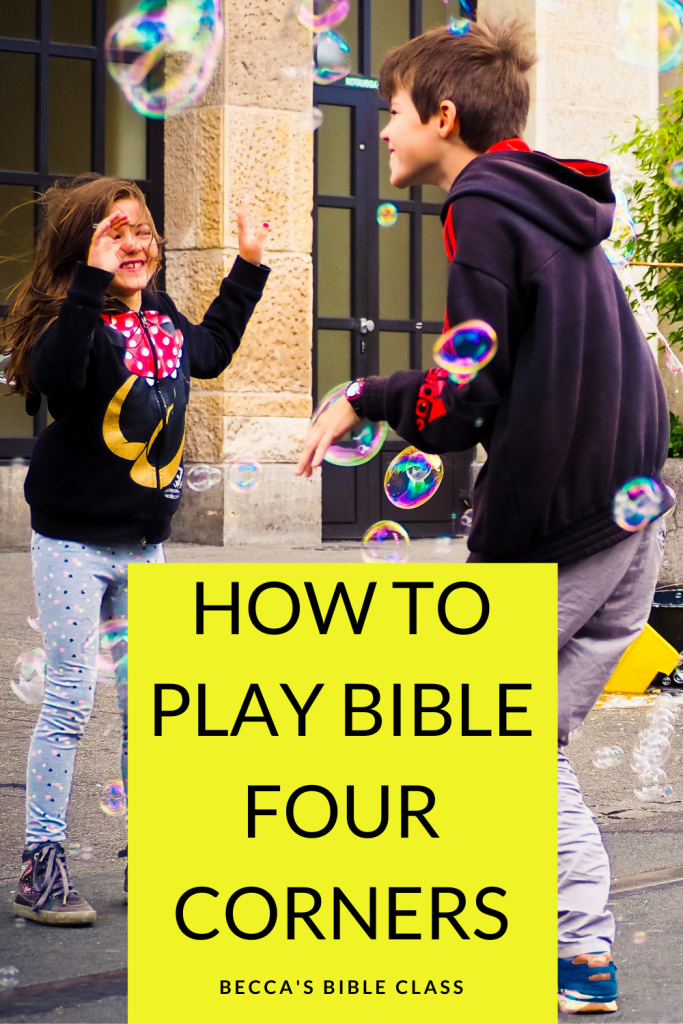 How to use Four Corners for the Bible. Bible four corners takes the beloved kid's game, and turns it into a way to teach or review any concept in the Bible. This quick and easy Bible review game is sure to delight your Sunday school, Children's Church, or Bible Class students-- they won't even realize they are learning. Becca's Bible Class.
