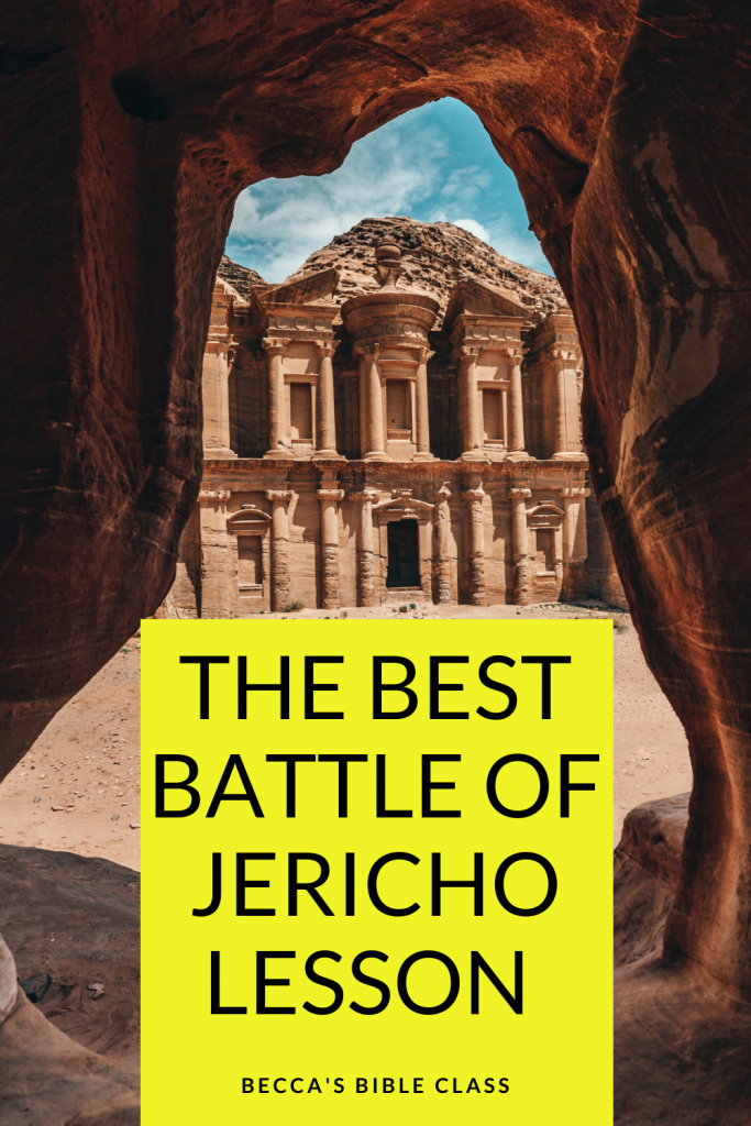 The best free Battle of Jericho lesson for Children's church, Sunday school, or Bible class. This active Bible lesson is fun for elementary school aged students (kindergarten, first grade, second grade, third grade, fourth grade, fifth grade) Becca's Bible Class