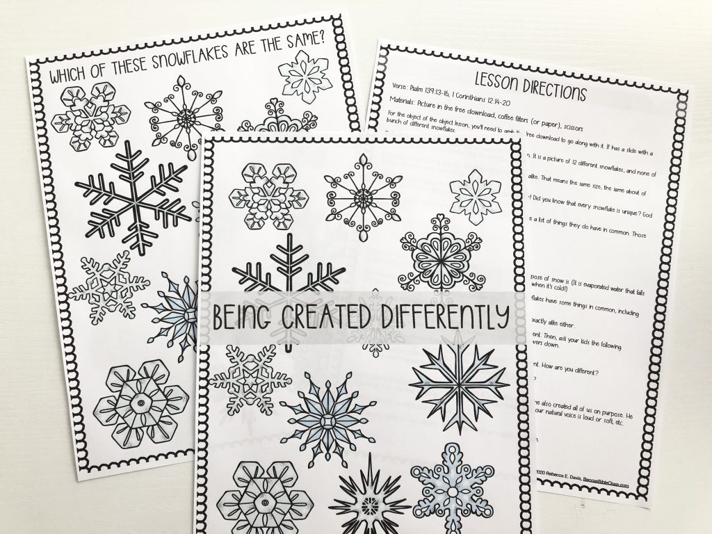 FREE DOWNLOAD Free Object Lesson about how God made you special using snowflakes. Bible lesson for fourth grade and fifth grade. Lesson for Sunday school or Children's church (or homeschool Bible class!). Becca's Bible Class
